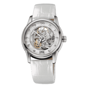 Oris-Artelier-Skeleton-diamonds-acier-bracelet-blanc-01-734-7670-4019-07-5-21-67FC Lionel Meylan Horlogerie Joaillerie Vevey