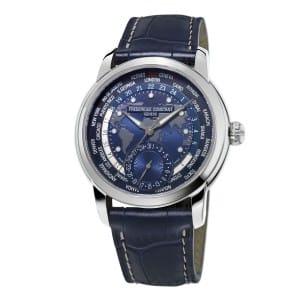 Frederique-Constant-Worldtimer-Navy-Blue-FC-718NWM4H6 Lionel Meylan Horlogerie Joaillerie Vevey