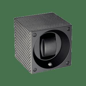 SwissKubik Ecrin rotatif pour 4 montres en cuir noir SK01-CF001-BLACK-CARBON-FIBRE Lionel Meylan Horlogerie Joaillerie Vevey