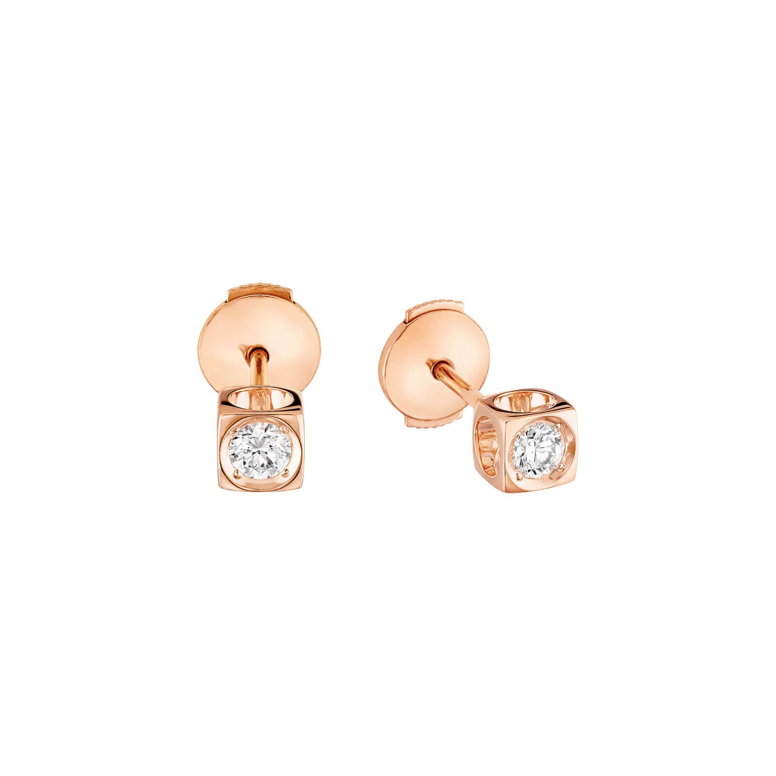 dinh van boucles d 39 oreilles le cube diamant moyen mod le or rose et diamants lionel meylan. Black Bedroom Furniture Sets. Home Design Ideas